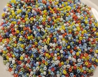 30g glass seed beads, Opaque Lustered beads, Colorful, approx 2mm, hole approx 0.6mm