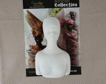 Bust African woman plaster blank