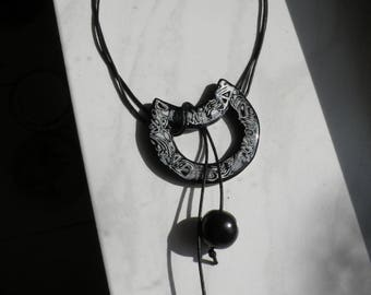 Crescent Moon pendant black and white