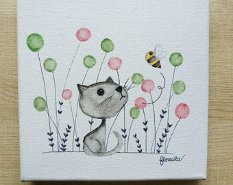 Small canvas cat and bee