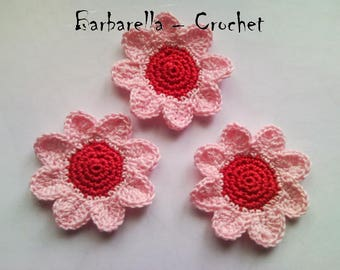 Cotton pink, red Daisy flower crochet applique