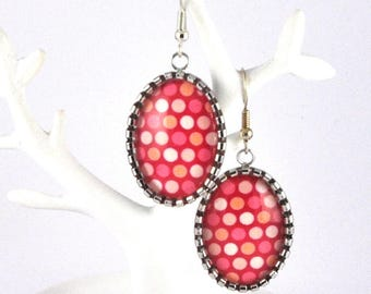 Pink polka dots cabochon earrings