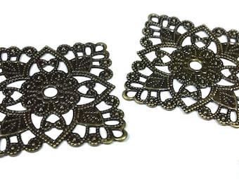 5 flowers prints/connectors/filigree bronze, square 31x31mm (co123)