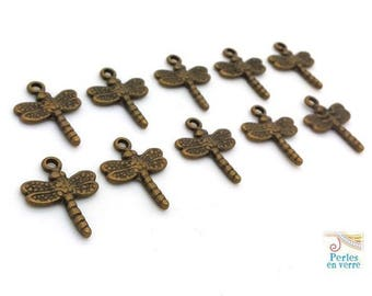 10 Dragonfly charms bronze metal nickel free (the number 604) 15x20mm