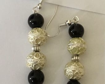 Black onyx bead with real stone pendant