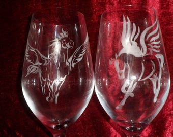 6 wine glasses engraved on glass customizable Pegasus