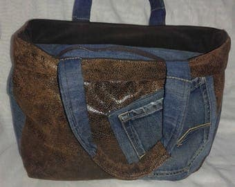 Jeans hand bag and tissue effect old leather