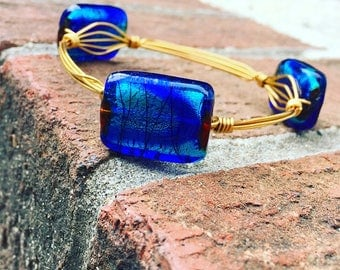 Ocean Blue Wire Wrap Bangle