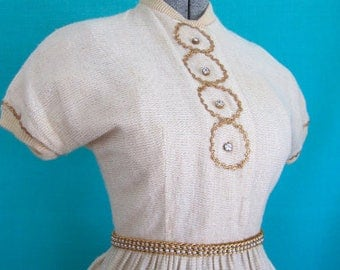 S 50s Knit Gold & Cream Dress Rhinestone Buttons White Ric Rac Junior House Milwaukee Small