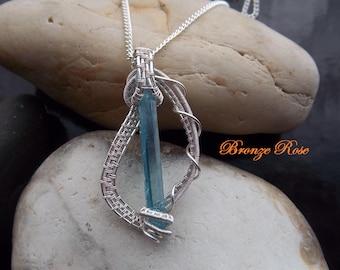 Hand crafted wire wrapped aqua aura quartz crystal necklace