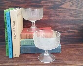 Pair of Vintage Glass Oakleaf Goblets