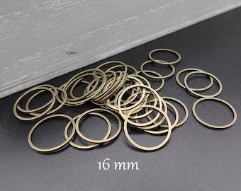 Lots of 10 rings closed 16 mm metal bronze
