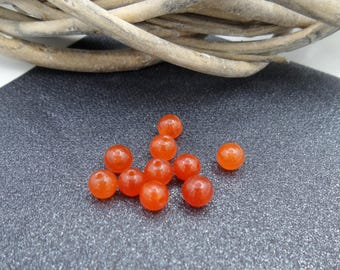 10 6 mm orange jade beads