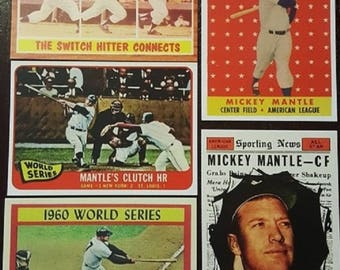 Mickey Mantle Lot of Five (5) Baseball Cards Mint ***WOW***