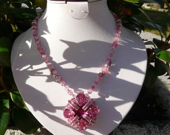 SWAROVSKI CRYSTAL NECKLACE PINK AND FUCHSIA