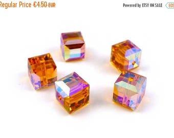 SOLDE 5 x Swarovski® 6 mm TOPAZ AB Crystal