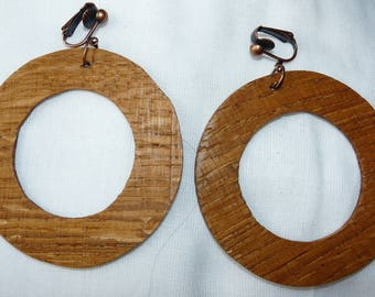 Rustic wood Earrings: large hoops so cool