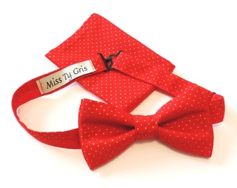 bow tie and red and gold clutch