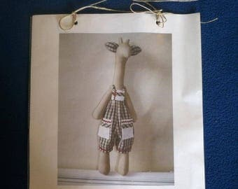 DIY - Giraffe, sew yourself, do-it-yourself, giraffe, with overall, fabric ethnic, instructions, unique, passionnementseize, France