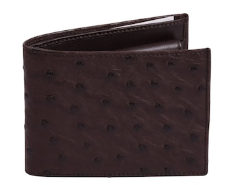 Ostrich leather wallet Dark Brown by Beretti