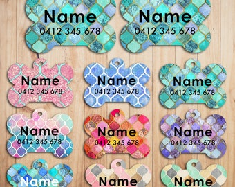 Metal Steel Personalized Pet Tags cat Tag dog Tag Custom ring Name Tags Moroccan Pattern print