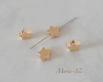 4 beads 8 mm - gold color copper stars
