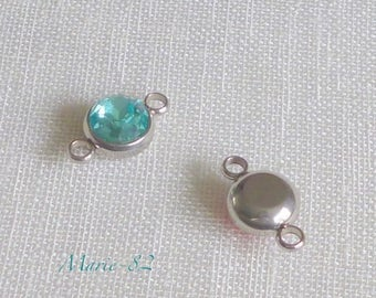 1 connector rhinestone Turquoise 10 mm - stainless steel
