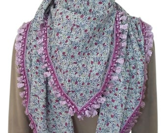 Large scarf/shawl square liberty cotton lined with purple fringe/tassels
