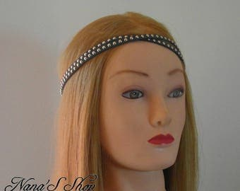 Grey headband, suede, double lace studded.