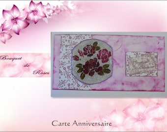 "Greeting card - ""Bouquet of red roses"" on a pink marbled background"