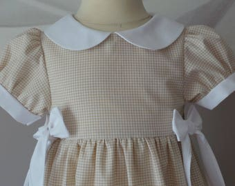 dress 2 years old, light brown and white Plaid