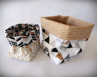Set of 2 baskets in coordinated fabric
