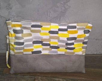 Elegant evening bag grey and yellow bi-material