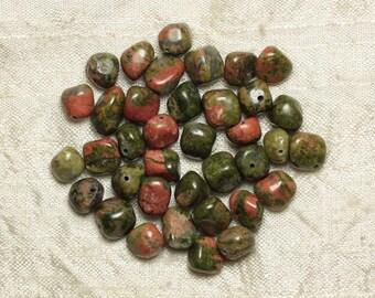 Stone - Unakite Nuggets 8-10mm 4558550021489 beads 10pc-