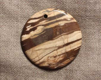 Pendant semi precious - No. 7 4558550032386 50mm round Zebra Jasper stone