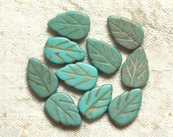 10pc - beads Turquoise synthetic leaf turquoise 14 mm 4558550034694