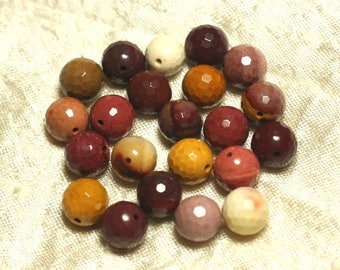 2PC - stone beads - Moukaite Jasper 10mm 4558550025364 faceted balls