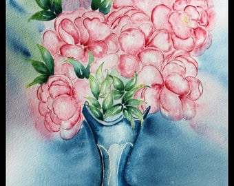 Original illustration painted in watercolor on ARCHES 300 g/m²les peonies