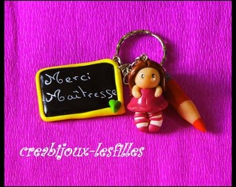 Thank you master in polymer clay keychain