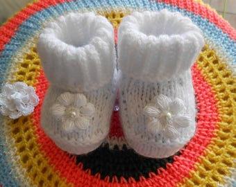 white baby booties handmade