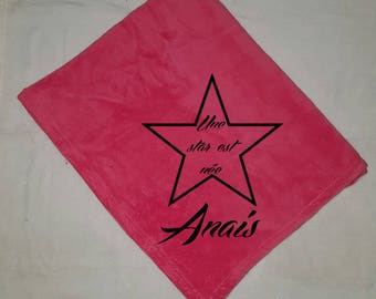 Blanket fleece pink baby a star is born personalize it with a flocking velvet (1 small text and 1 pattern)