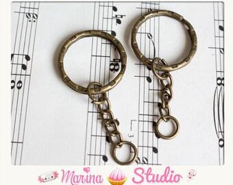 5 portes clés bronze avec grand anneau et chainette ms22221
