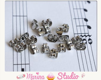 50 lobster push stopper, end caps earrings in Silver (25 pairs) MS19165