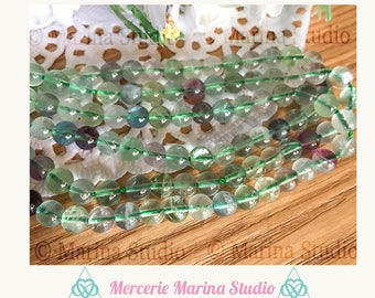 5 fluorite 6mm top quality beads! 100% natural for reiki, chakra