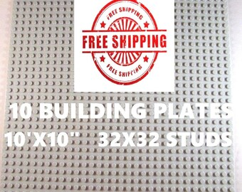 "10 New Lego Compatible 10""x10"" Gray Base Plates Board and 1 Genuine Lego Brick"