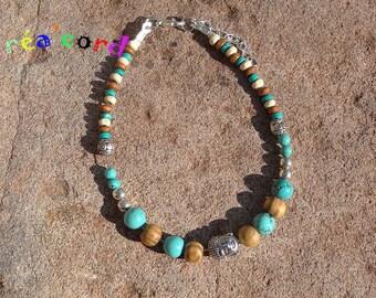 original and adjustable ankle bracelet handmade natural turquoise stone