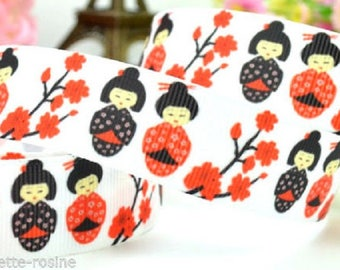 Printed grosgrain Ribbon * 22 mm * doll Chinese GEISHA flower red - sold by the yard