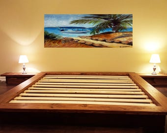 Platform Bed, Loft Bed, Low Profile Bed, Bed With Night Tables, Integrated Night Stands