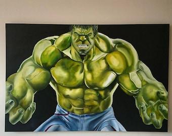 Marvel comic painting hulk