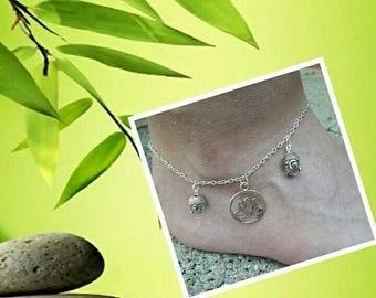 Zen Buddha silver anklet